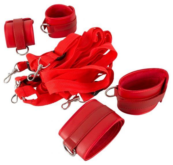 Bettfessel-Set aus Lederimitat (mit Hand- und Fußfesseln)