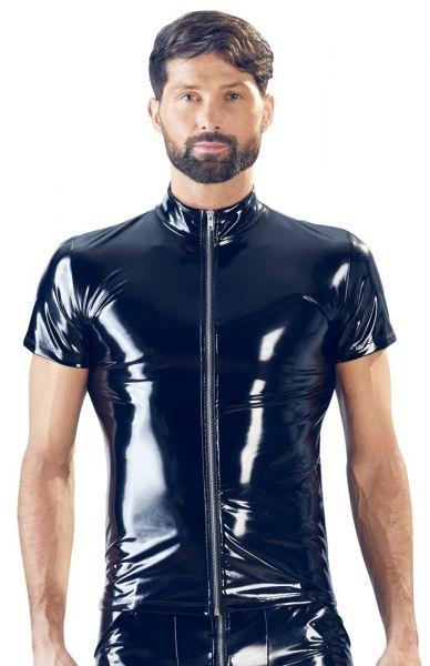 Herren-Shirt aus glänzendem Lack (Frontansicht)