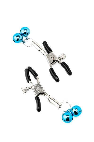 ZENN Nipple Clamps mit blauen Sklavenglöckchen (mit Ringen zum Anhängen von Gewichten, Ketten oder Leinen)