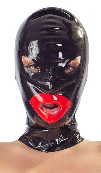 Kopfmaske Lips aus Latex (Öffnungen für Mund, Augen und Nasenlöcher)