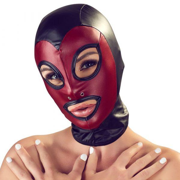 Kopfmaske im 2-farbigen Mattlook (mit Öffnungen über Augen & Mund)