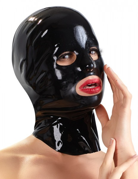Latex-Kopfmaske (schwarz)
