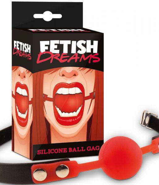 Fetish Dreams Silicone Ball Gag rot (bringt deinen devoten Partner zum Schweigen)